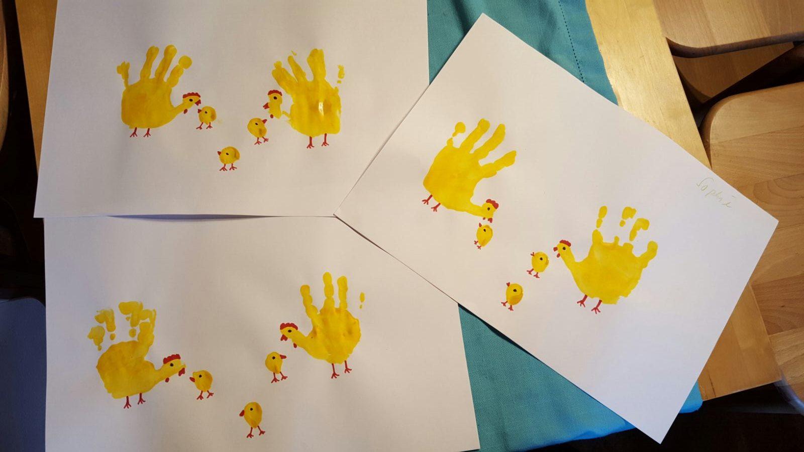 Hühner sowie Küken erleben und malen